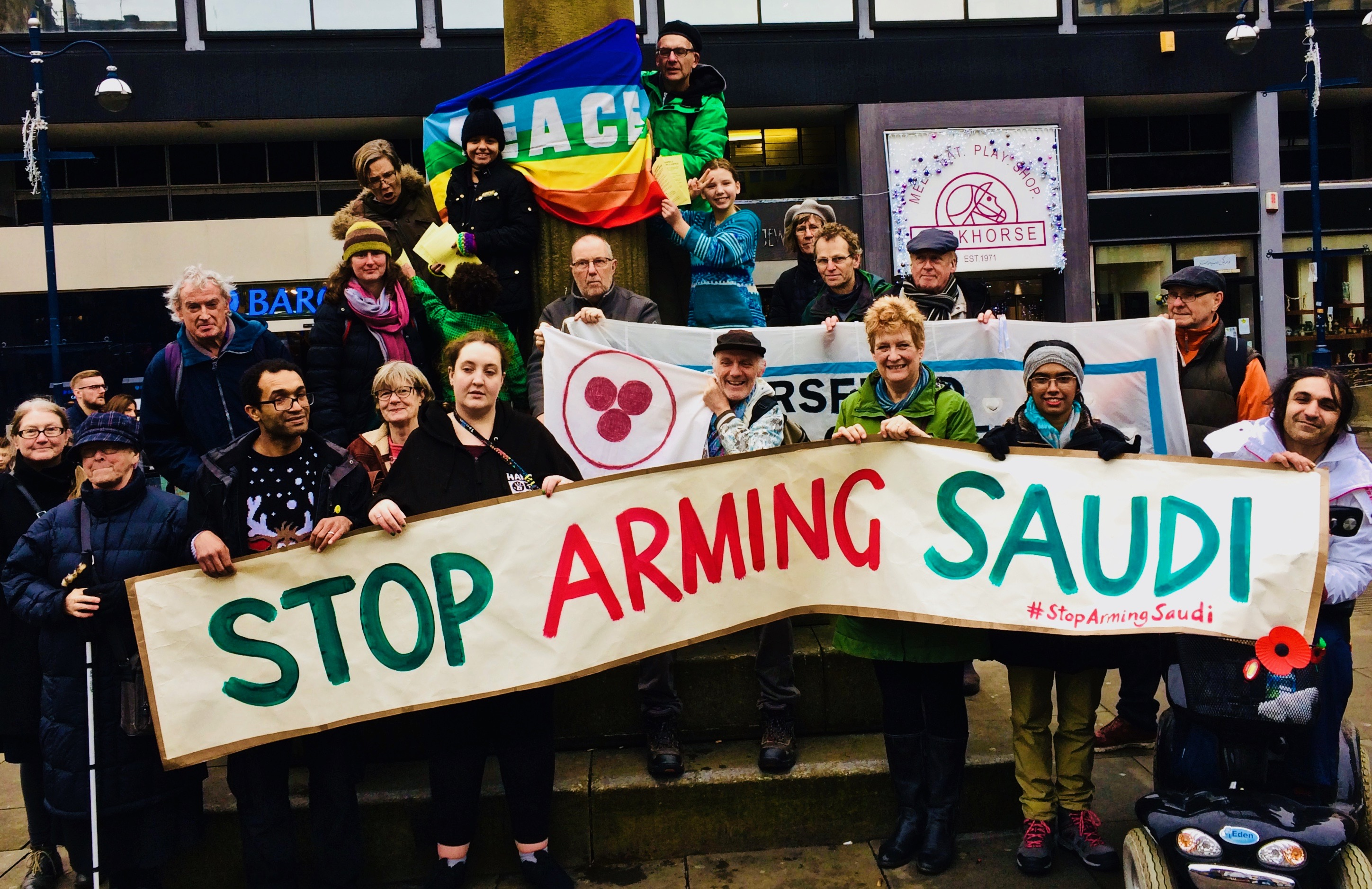 people demonstrating against arms sales to Saudi Arabia